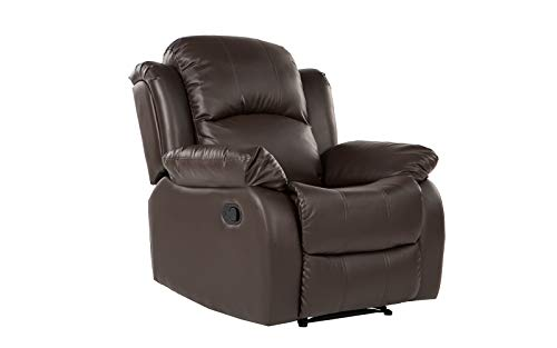 Bonded Leather Overstuffed Recliner Chair Colors Brown, Black (Brown) (Chairs On Sofa Sale Leather And)