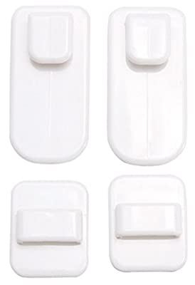 Zeroyoyo White Plastic Home Wall Storage Hook Sticky Holder for TV Air Conditioner Remote Control Keys 2pcs