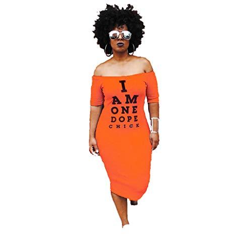 Eshoono Womens Plus Size Off Shoulder Letter Print Bodycon Dress Summer Tunic Dresses Orange (Plus Size Orange Dress)