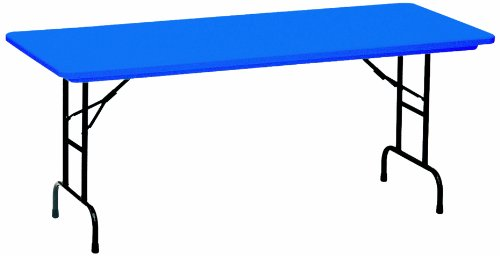 - Correll RA3072-27 R Series, Adjustable Height Blow Molded Plastic Commercial Duty Folding Table, Rectangular, 30