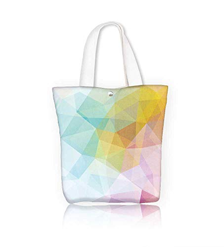 Canvas Tote Bag Geometric polygon triangles in pink white blue tones Hanbag Women Shoulder Bag Fashion Tote Ba W15xH14xD4.7 INCH