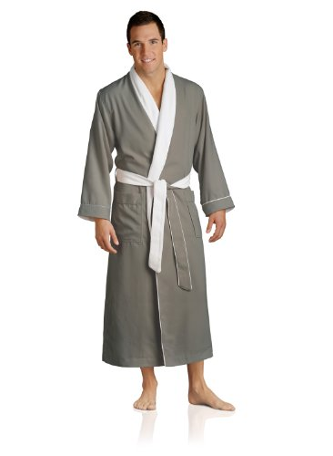 - Plush Necessities Luxury Spa Robe - Microfiber with Cotton Terry Lining, Sandstone, Large