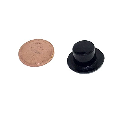 Miniature Top Hats - Black Plastic - 19 x 11mm (or 0.75in. X 0.43in., 24/pcs) (Hat rim is the diameter of a penny)