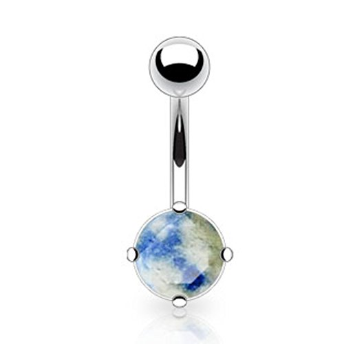 Dynamique 14g Lapis Lazuli Semi Precious Stone Prong Set Belly Button Ring 316L Surgical Steel