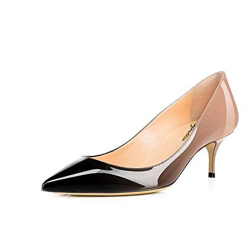 Maguidern Pumps Shoes 2 1/2 inches Kitten Heels, Slip On Pointed Toe Office Dress Stiletto Pumps Patent Leather Shoes Nude Black Size ()