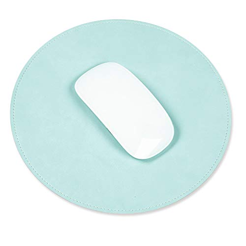 (ProElife Home/Office Round Premium PU Leather Mouse Mice Pad Mat Smooth Surface Non-Slip Noiseless for Magic Mouse Surface Mouse Mice and Wired/Wireless Bluetooth Mouse (Turquoise Blue))