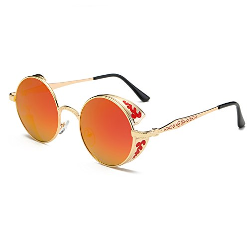Round Retro Mirrored W/ Flash Sunglasses for Men and Women Polarized - Glasses Red Lensed