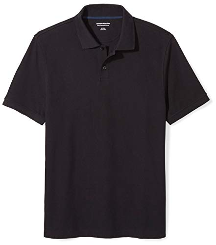 (Amazon Essentials Men's Slim-Fit Cotton Pique Polo Shirt, Black, Medium)