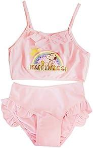 Gnatx Girl One Piece Swimsuit Kids One Shoulder Cartoon Tutu Shirt Swimwear Beach Bathing Suit for 2-8 Years,