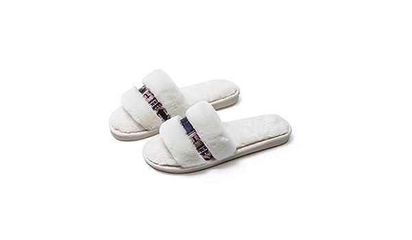 Zapatillas de casa para mujer Womenb Zapatillas de dedo del pie abiertas lindas casa zapatos de algodón suave antideslizantes ligeros para viajes de hotel ...