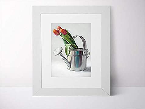 5d21586c76af5 Amazon.com: Watering Can with Tulips - Artist Signed Oil Painting ...