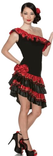 Spanish Dancer Fancy Dress Costume (Delicious Caliente Costume, Black/Red, Small)