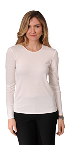 Eileen Fisher Stretch Silk Jersey Long Sleeve Crew Neck Top (M, Softwhite)