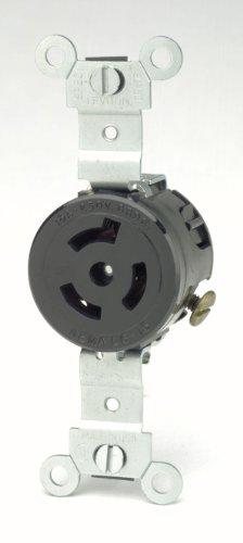 Leviton 4560 15 Amp, 250 Volt, NEMA L6-15R, 2P, 3W, Single Locking Receptacle, Industrial Grade, Grounding, (Single Locking Receptacle)