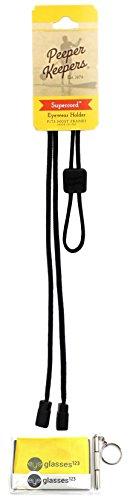 Eyeglass Retainer & Sunglass Holder By Peeper Keepers Supercord Adjustable, Black, 1pk | w/Microfiber Cloth, Screwdriver