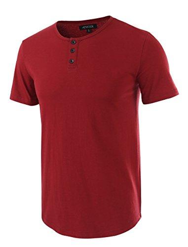 - HETHCODE Men's Classic Comfort Soft Regular Fit Short Sleeve Henley T-Shirt Tee Wine XS