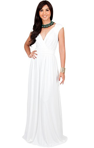 Ballroom Dress Fabric - KOH KOH Plus Size Womens Long Cap Short Sleeve Cocktail Evening Sleeveless Bridesmaid Wedding Party Flowy V-Neck Empire Waist Vintage Sexy Gown Gowns Maxi Dress Dresses, Ivory White 3XL 22-24