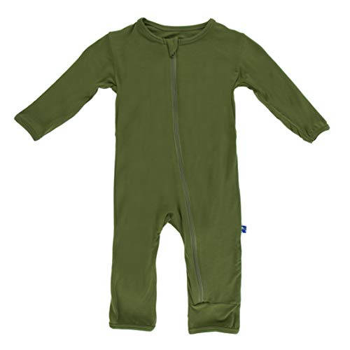 Kickee Pants Little Boys Basic Coverall with Zipper - Moss, 0-3 Months