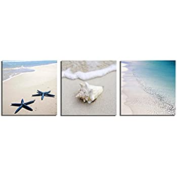 The Decor Shop - Canvas Prints Seaside Beach Photos on Canvas Wall Art Stretched and Framed Modern Decor Paintings Giclee Artwork for Home Decoration 12x12inch