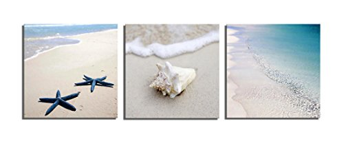 Yang Hong Yu - Canvas Prints Seaside Beach Photos on Canvas Wall Art Stretched and Framed Modern Decor Paintings Giclee Artwork for Home Decoration 12x12inch …