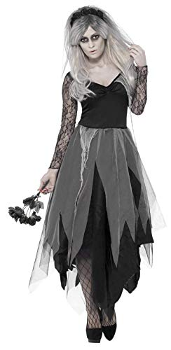 Smiffys Women's Graveyard Bride Costume, Dress and Rose Veil, Legends of Evil, Halloween, Size 14-16, 43729