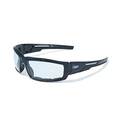 Clear Lens Motorcycle Padded Glasses Sunglasses ATV Quad Moped, black