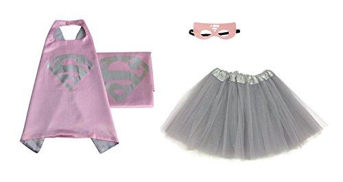 [Rush Dance Kids Children's Deluxe Comics Super Hero CAPE & MASK & TUTU Costume (Supergirl (Gray] (Tutu Halloween Costumes For Teenage Girls)