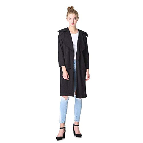 Suède Automne Blouson Trench Femme 3 Mode Haidean Colour Elégante Vintage Chic Longues Printemps UX8pZ