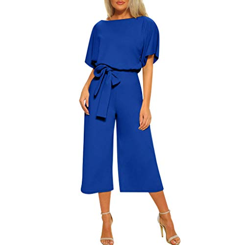 Tantisy ♣↭♣ Women's Elegant High Waist Short Sleeve Jumpsuit Casual Wide Leg Pants Loose Rompers with Belt Blue ()