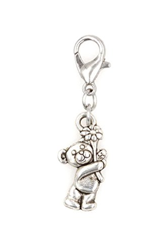 It's All About...You! Bear with Flower Clip on Charm Perfect for Necklaces and Bracelets 97Aj