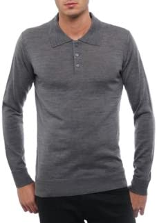 Pull Homme 100% Merinos Gris Col Polo à Boutons:
