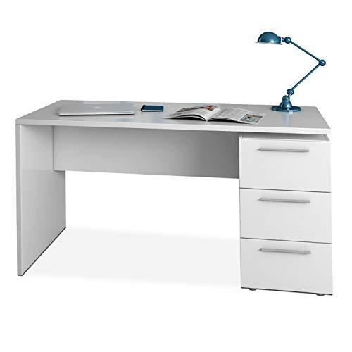 Habitdesign Mesa de Despacho 3 Cajones, Mesa Escritorio, Modelo Stylus, Acabado en Color Blanco Artik, Medidas: 138…