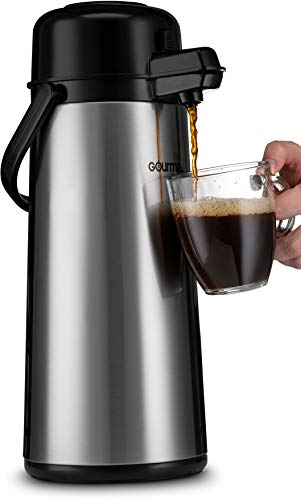 Coffee Pump Pots - Gourmia GAP9820 AirPot Thermal Hot & Cold Beverage Carafe With Pump Dispenser 2.2L Capacity air pot