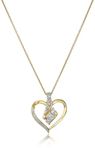18K Yellow Gold over Sterling Silver Diamond Heart Pendant Necklace (1/4 cttw), 18