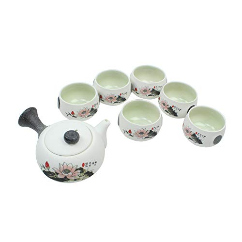 Chinese teapot set with 6 tea cups (White Flower) Traditional Porcelain Loose Leaf Chinese Teapot Set With 6 Tea Cup Antique Vintage Great For