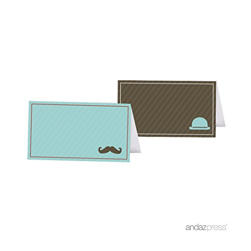 Andaz Press Vintage Lil Man Mustache Boy Baby Shower Collection, Table Tent Place Cards, 20-Pack