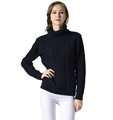 Ahava Avenue Knitted Turtleneck Warm Ribbed Cable Long Sleeve Sweater Pullover for Women (Large, Black)