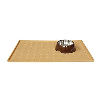 "WooPet! Pet Food Mat 24""x16"" Extra Large, Premium Silicone Food Safe Cat or Dog Feeding Mat"