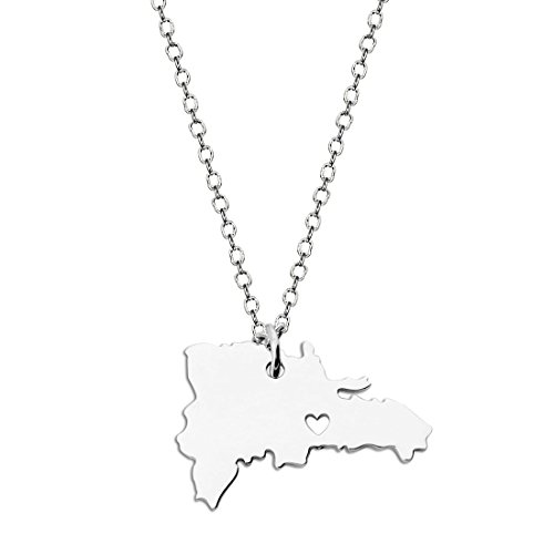 KUIYAI Country Map Charm Pendant State Shaped Necklace with a Heart (Silver Dominican Republic)