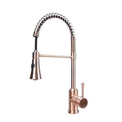 Antique Copper Single Handle Pull-Down Copper Kitchen Faucet ...