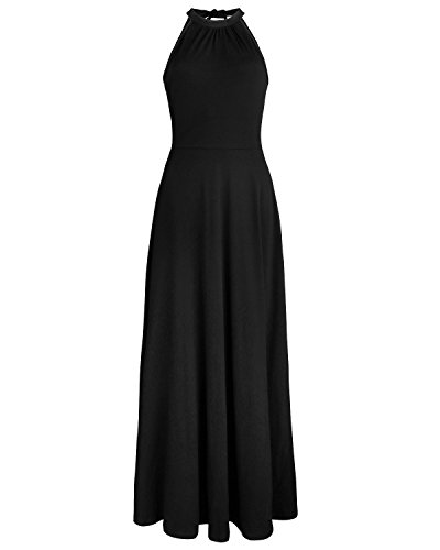 STYLEWORD Women's Off Shoulder Elegant Maxi Long Dress(Black,XL)