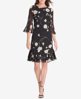 - Jessica Howard Womens Swiss Dot Floral Casual Dress Black 6