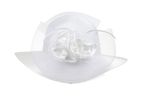 Prefe Lady's Kentucky Derby Dress Church Cloche Hat Bow Bucket Wedding Bowler Hats (White, One Size)