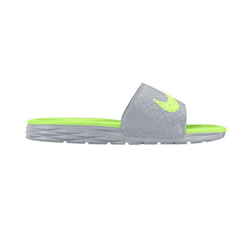 NIKE Women's Benassi Solarsoft Slide Sandal, Wolf Grey/Ghost Green