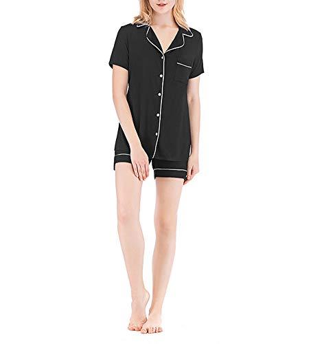(ANCHOVY Womens Modal Long Button Down Sleepwear Notch Collar Pajama Sets P07 (Short Black, L))