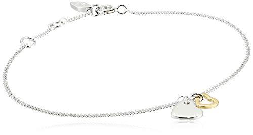 Fossil Women's Duo Heart Two-Tone Sterling Silver Bangle Bracelet