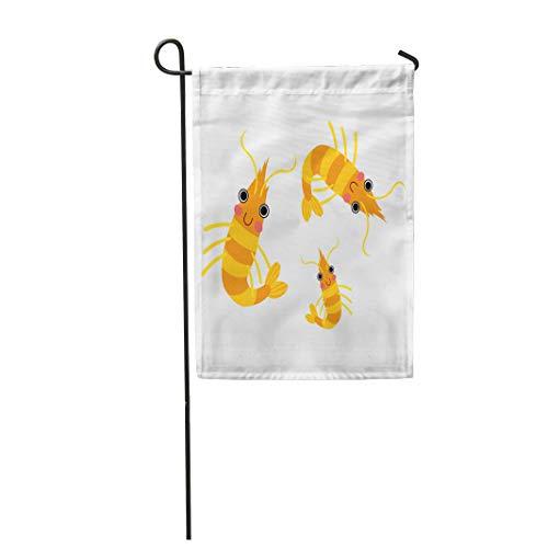 Semtomn Garden Flag 12x18 Inches Print On Two Side Polyester Orange Shrimp Krill Animal Cartoon Character White Cute Aquarium Aquatic Clipart Home Yard Farm Fade Resistant Outdoor House Decor Flag -