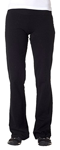 Cotton Canvas Pants - Bella 810 Ladies Cotton/Spandex Yoga Pant - Black - M