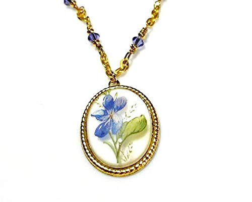 - Flower Pendant Necklace and Earrings Set with Purple Crystals and Gold Chain, Nature Inspired Botanical Art Jewelry, Necklaces for Women