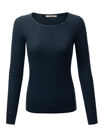 Fifth Parallel Threads Womens Crew Neck Long Sleeve Thermal Top Navy 3X